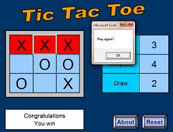 Tic Tac Toe game creeated with Microsoft Excel