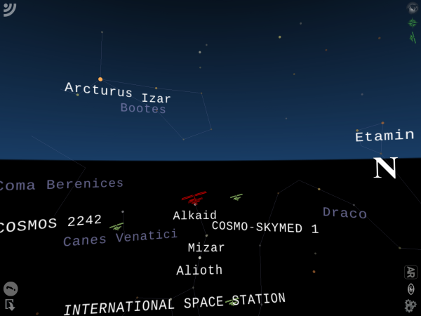 Screenshot from the Night Sky app showing the ISS