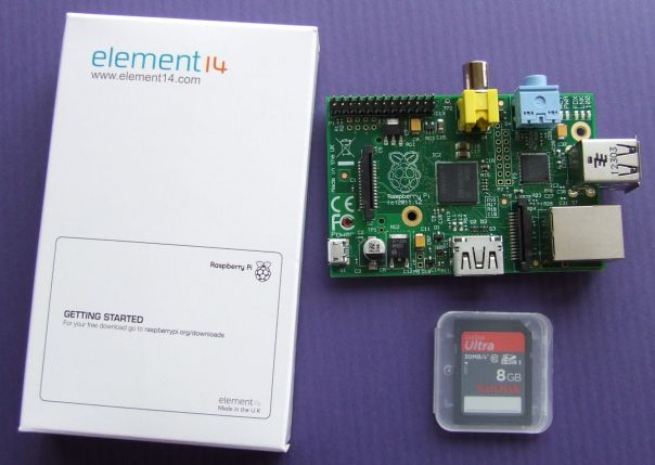 The Raspberry Pi with retail box and separate SD card