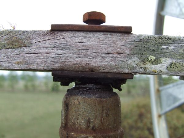 The pivot point reinforced with metal plates